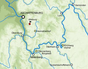 Die Altenburg und weitere michelsbergerzeitliche Siedlungsstellen am Spessartrand (gelb markiert). Karte: Jürgen Jung, Spessart-GIS