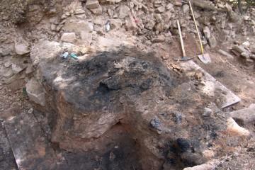Unmittelbar daneben legen wir nach Abräumen der Steinpackung mächtige verkohlte Eichenbalken frei.