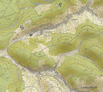 """Topographische Übersicht der Umgebung der """"Altenburg"""" bei Leidersbach/Sulzbach. Karte: Dr. Jürgen Jung, Spessart-GIS"""