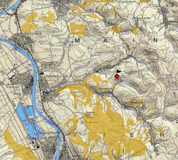 """Geologische Übersicht der Umgebung der """"Altenburg"""" bei Leidersbach/Sulzbach. Karte: Dr. Jürgen Jung, Spessart-GIS"""