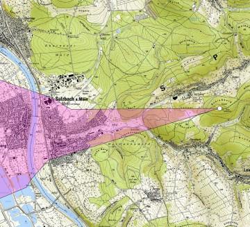 """Die Sichtbeziehungen von und nach der """"Altenburg"""" bei Leidersbach/Sulzbach in unbewaldetem Zustand. Karte: Jürgen Jung, Spessart-GIS"""