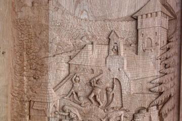 Diese Darstellung der Sage des Überfalls der Griefenberger auf die Burg auf dem Klosterberg befindet sich im Alten Rathaus in Rottenberg.
