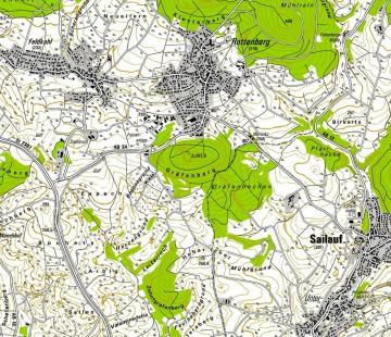Lageplan mit dem Gräfenberg. Karte: Jürgen Jung, Spessart-GIS