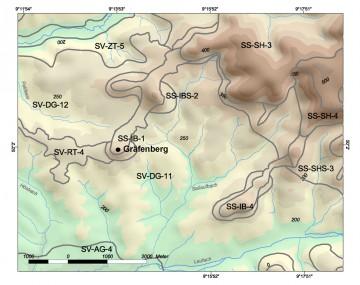 Höhenschichten und Geomorphologische Raumeinheiten in der Umgebung des Gräfenberges. Karte: Jürgen Jung, Spessart-GIS