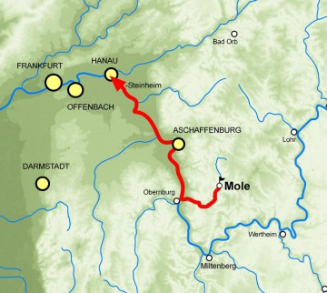 Die Bauhölzer der Burg Mole wurden 1437/38 nach Steinheim bei Hanau verbracht. Karte:Jürgen Jung, Spessart GIS