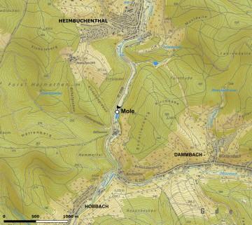 "Topographische Übersicht der Umgebung der ""Mole"" bei Heimbuchenthal. Karte: Dr. Jürgen Jung Spessart-GIS"