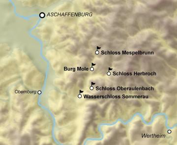 Burgen im Umfeld der Burg Mole Karte: Dr. Jürgen Jung, Spessart-GIS