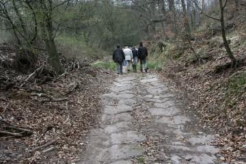 Begehung des gepflasterten Wegs zur Abfuhr von Schwerspat bei Partenstein