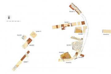 """Die 2006-2010 auf dem """"Alten Schloss"""" bei Kleinwallstadt angelegten Grabungsschnitte. Umzeichnung: Claudia Binder, Heidelberg"""