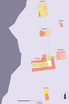 In sämtlichen 2007 geöffneten Schnitten traten die Spuren der burgzeitlichen Bebauung zu Tage.