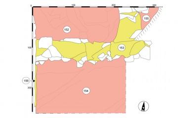 Das der Ringmauer östlich vorgelagerte Mäuerchen (Befund 153) gibt uns einen Hinweis darauf, dass das Areal zu Burgzeiten auch außerhalb des Mauerberings bebaut war. Die westlich anschließende Ringmauer ist in diesem Plan nicht eingezeichnet.
