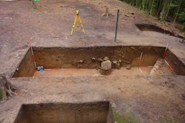 Die Strukturen eines burgzeitlichen Erdkellers zeichneten sich deutlich in der südöstlichen Profilwand von Schnitt 8 ab.