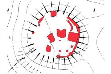 """Die rot markierten Flächen weisen die in ihrer archäologischen Subsanz durch """"Heimatforscher"""" im Jahre 1991 zerstörten Flächen aus (Kartengrundlage aus: Ortsakten des Bayerischen Landesamts für Denkmalpflege)."""