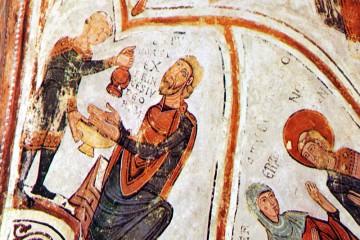 Bei der Darstellung der Händewaschung auf den im 12. Jahrhundert entstandenen Fresken von San Isidoro in León (E) kommt anstelle eines Aquamanile ein gießkannenartiges Gefäß zum Einsatz.