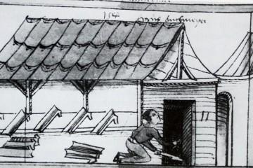 Einen Miniatur im Volkacher Salbuch aus dem Jahre 1504 (Stadtarchiv Volkach, Folio 447r) zeigt einen Ziegler beim Ausräumen seines Ofens. Auf dem Brennofen hängen zum Trocknen Ziegel in der Art der Mönch-Nonne-Ziegel.