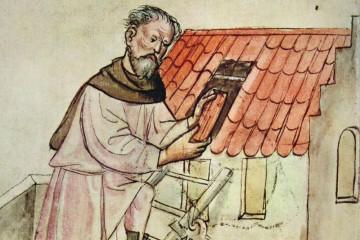 Der Dachdecker. Miniatur aus dem Hausbuch der Mendelschen Zwölfbrüderstiftung zu Nürnberg, um 1425 (Stadtbibliothek Nürnberg, Amb. 317.2 Folio 24 recto)