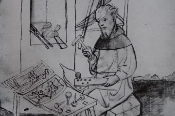 Ein Nagelschmied bei der Arbeit: Was hier als geruhsame Beschäftigung erscheint, war in Wiklichkeit eine knochenharte Akkordarbeit. Miniatur aus dem Hausbuch der Mendelschen Zwölfbrüderstiftung zu Nürnberg, um 1425 (Stadtbibliothek Nürnberg, Amb. 317.2 Folio 19 verso)