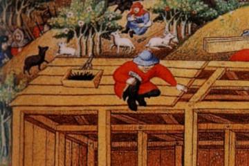Eine Miniatur aus dem Spätmittelalter zeigt den Bau eines Fachwerkhauses. Die gesamte Konstruktion hält durch kunstfertige Verzapfungen und Holznägel zusammen. Lediglich die Latten auf dem Dach werden mit Eisennägeln fixiert. Frankreich, um 1423 (The British Library London MS Add 18850 f15v).