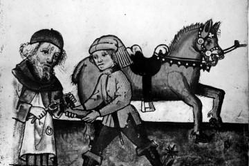 Hufschmied bei der Arbeit. Miniatur aus dem Hausbuch der Mendelschen Zwölfbrüderstiftung zu Nürnberg, 1467 (Stadtbibliothek Nürnberg, Amb. 317.2 Folio 86 verso)