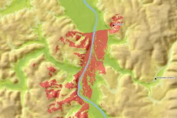 """Die Kartierung der Sichtachsen des """"Alten Schlosses"""" zeigt, dass die Anlage nicht auf größtmögliche Sichtbarkeit konzipiert war. Karte: Jürgen Jung, Spessart-GIS"""