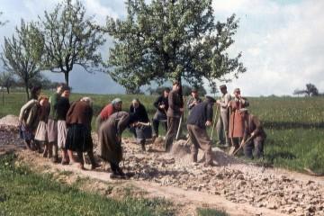 Arbeitskolonne beim Wegebau im Rahmen der Flurbereinigung 1963