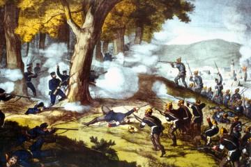 """In der Auseinandersetzung zwischen Österreich und Preußen um die Vorherrschaft in Deutschland war auch Unterfranken Kriegsschauplatz. Die bayerische Armee als Verbündeter Österreichs und eine preußische Heeresabteilung, die sogenannte """"Main-Armee"""" lieferten sich auf dem Gebiet zwischen Uettingen, Greußenheim, Roßbrunn und Helmstadt ein letztes blutiges Gefecht. Rund 50.000 Soldaten waren hier am 26. Juli 1866 beteiligt."""