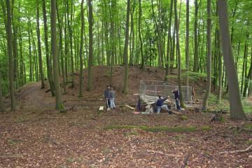 Trotz schechten Wetters schreiten die Ausgrabungen im Burggraben stetig voran. Damit niemand versehentlich in den nun schon recht tiefen Schnitt fällt, wurde dieser mit einem Bauzaun gesichert.