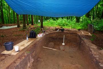 Ein enorm großer, nur gob behauener Sandstein gibt zu manchen Fragen Anlass. Mit dem Sondagestab wollen wir ermitteln, wie tief der Stein in die Erde eingegraben wurde.