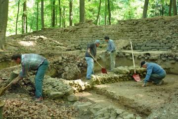 """Bei strahlendem Sonnenschein begann in diesem Jahr die zweite Grabungskampagne auf dem """"Alten Schloss"""" bei Kleinwallstadt. Funde des ersten Tages: Drei junge Mäuse und acht Feuersalamander"""