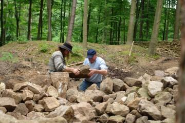 Hauruck! Mit Schwung werden die gefundenen Steine aufgeschichtet. Mit den vorgefundenen Steinen einstigen menschlichen Wohnraums wird nach und nach ein Lebensraum für Feuersalamander geschaffen.