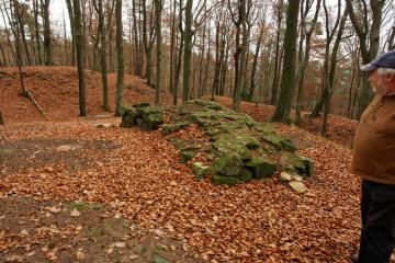 Das Mauerfundament auf der höchsten Erhebung des Klosterberges vor Beginn der Grabungsarbeiten.