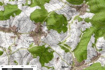 Topografische Karte von Rottenberg. Bearbeitung: Jürgen Jung, Spessart-GIS