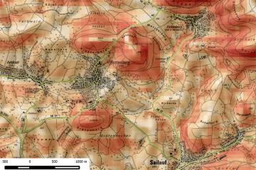 Topografische Karte von Rottenberg mit Hervorhebung der Hangneigungen. Bearbeitung: Jürgen Jung, Spessart-GIS