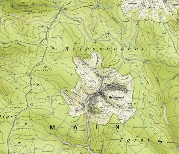 Topographische Übersicht der Umgebung von Rothenbuch. Karte: Jürgen Jung, Spessart-GIS