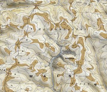 Höhenschichten und Verebnungen im Tal von Rothenbuch. Karte: Jürgen Jung, Spessart-GIS