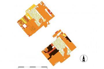 Gesamtplan der 2009 untersuchten Flächen. Umzeichnungen: Sabrina Bachmann, Heimbuchenthal