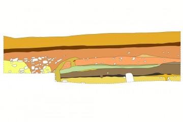 Profil mit Brandschicht der zerstörten hochmittelalterlichen Vorgängeranlage. Umzeichnung: Sabrina Bachmann, Heimbuchenthal