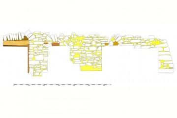 Blick auf die westliche Ringmauer und die ihr vorgelagerte Stützarkade. Umzeichnung: Sabrina Bachmann, Heimbuchenthal