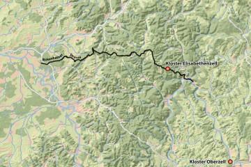 Der Verlauf der Birkenhainer Straße. Karte: Jürgen Jung, Spessart-GIS