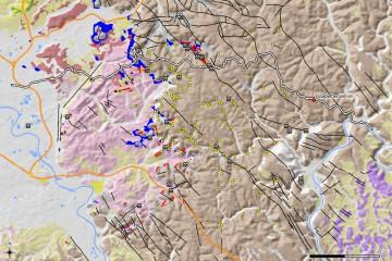 Die Karte verdeutlicht die Bedeutung der Birkenhainer Straße für den Wirtschaftsraum Spessart. Sie verband Glashütten (gelbe Punkte), Eisenerzlagerstätten (rot) und Zechsteinvorkommen. Karte: Jürgen Jung, Spessart-GIS