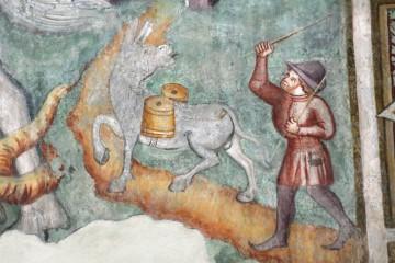Versorgung einer Burg mit Frischwasser. Fresko in der Dominikanerkirche in Bozen/Südtirol, Stiftung des Herren von Castelbarco, Veroneser Meister 1379