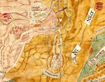 """Auf der Karte von Elias Hofmann um 1580 ist im Heselergrund zwischen """"Wanrodt"""" und """"Rengersborn"""" an der Quelle die Siedlung Haselbrunn nicht eingezeichnet. Sie existierte bereits zu dieser Zeit nicht mehr (Würzburg, Staatsarchiv, Mainzer Risse und Pläne)."""