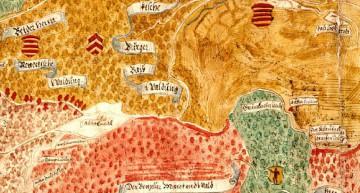 """In der """"Mappa Amt Rieneck"""" des Frankfurter Kartenmalers Elias Hofmann um 1580 sind die Gebäude des """"Einsidel"""" ohne Dach eingezeichnet. Das bewirtschaftete Klosterumfeld ist gut erkennbar (Würzburg, Staatsarchiv, Mainzer Risse und Pläne 34)."""
