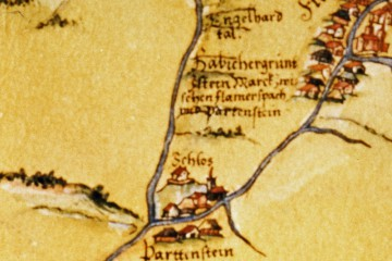 """Darstellung der Burg Bartenstein (""""Schlos"""") auf der Pfinzing-Karte von 1594 (StA Nürnberg)"""