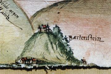 Darstellung der Burg Bartenstein auf einer Karte um 1550 (StA Würzburg, Mainzer Risse und Pläne, XI/54)