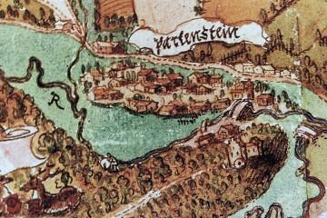 Partenstein auf der Karte der Jagdbezirke Prozelten und Rieneck, um1600 (StA Würzburg, Mainzer Risse und Pläne, XI/69)