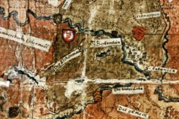 Burg Bartenstein auf einer Karte um 1585 (StA Marburg, Karte P II 14 930)