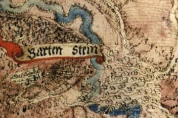 Burg Bartenstein und Dorf auf einer Karte des Amtes Rieneck und Umgebung, 1584 (Staatsarchiv Marburg, Karte R II 44)