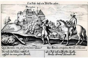 """Ansicht der Burg Bartenstein auf einem Kupferstich in Daniel Meißners """"Sciographia cosmica"""" von 1623"""