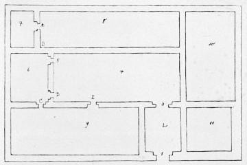 Grundriß der Burg Bartenstein von 1621 (StA Würzburg, G 7051). Legende: 1. Thor. 2. Vorhoff. 3. Thor. 4. Hoff. 5. Capellenthür unden im Hoff. 6. Gemaine Capellen. 7. Thurm. 8. Maintzischer Baw. 9. Hanawischer Baw. 10. Maintzischer Baw. 11. Maintzischer Viehestall.
